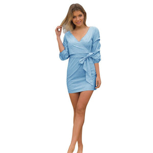 Dress High Quality Europe style, Sexy Solid V Neck Mini Dress With Belt kate middleton Blue Vestido