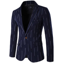 Blazer Suit Jacket Striped  high quality fashion Single Button Brand Casual Business Suit Blazer Male Cotton
