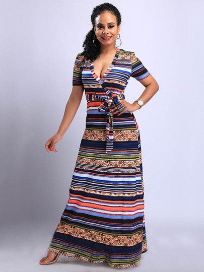 Dress V-Neck Ankle-Length Women's Maxi Dress