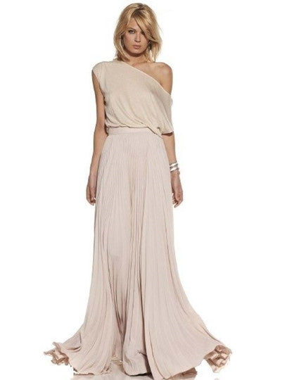 Dress French Romantic Oblique Collar Women's Maxi Dress