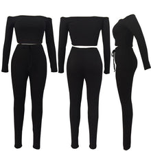 Women Sexy Club Two Piece Set High Elastic Long Sleeve Ribbed Crop Top And Pants Suits Sexy Casual Slim Fit Stretch Outfits