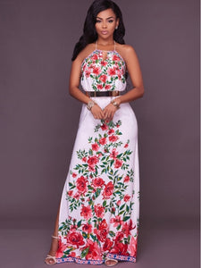 Dress Printing Halter Backless Women's Maxi Dress