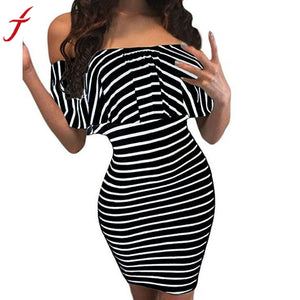 Dress Off Shoulder Sexy Summer  Fashion Black Striped Slash Neck Bodycon Nightclub/ Party Mini dress