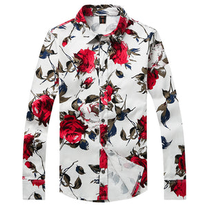 100% Cotton Button up New style Men's leisure fashion business long sleeve shirts Men' s flower color long sleeve shirt  CY081