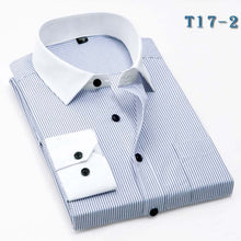 Button up New fashion men striped shirt long sleeve Dress Shirt Formal Business Social Classic Slim Fit Shirts male clothing