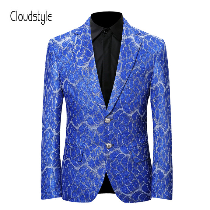 Blazer New Arrival 2018 Cloudstyle Men's Single Breasted England Style Blue Pattern Blazer Wedding Party Blazer