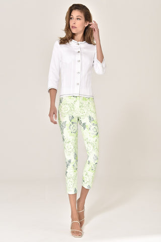Robell Light Green Floral Print 7/8 Trousers (Style 51627-54829 Rose 09)