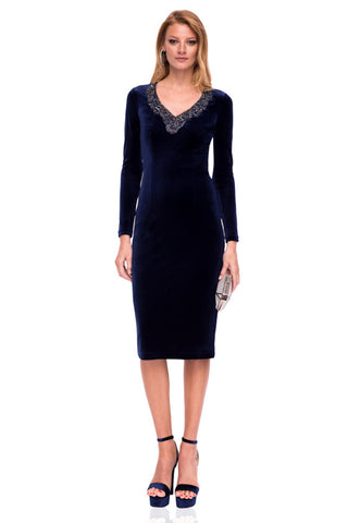 Nissa Midnight Blue Velvet Dress