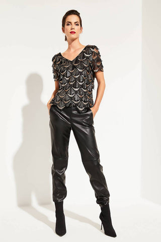 Comma V-Neck Sequin Top