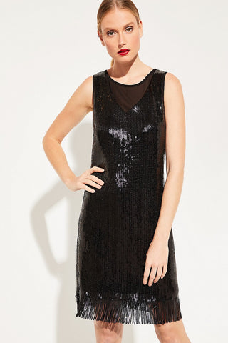 Comma Sequin Black Sleeveless Dress