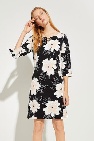 Comma Navy Floral Print Shift Dress with 3/4 sleeve
