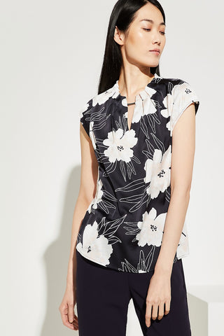 Comma Navy Floral V-neck with Cap Sleeve Top (Style 0938)