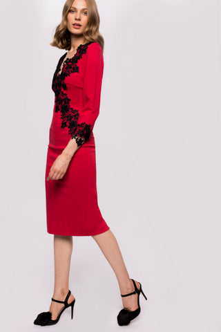 Nissa Lace V-Neck Red Dress