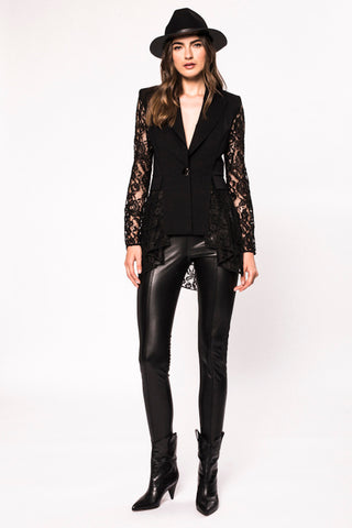 Nissa Black Lace Sleeve Fitted Jacket