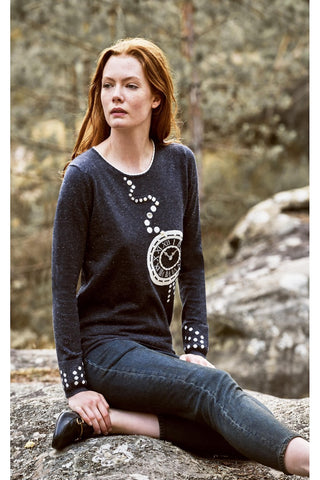 Leo & Ugo Charcoal Knit Jumper with Cream Clock