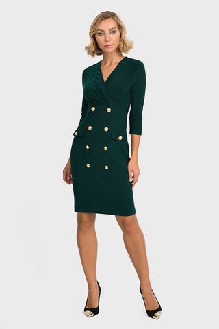 Joseph Ribkoff Bottle Green Dress with Gold Buttons