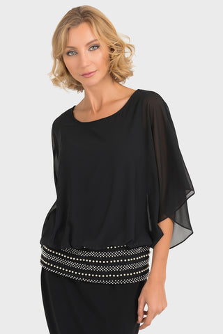 Joseph Ribkoff Waterfall Embellished Black Top - 193212