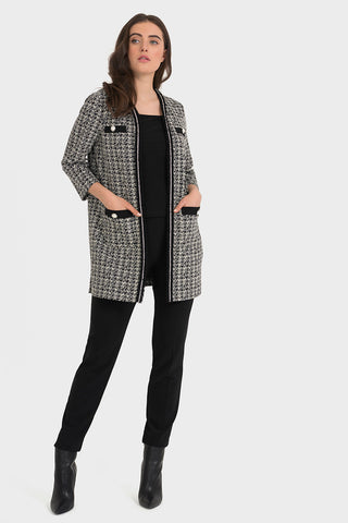 Joseph Ribkoff Monochrome Chanel Style Edge to Edge Coat