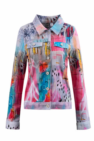 "Dolcezza Hot Pink Print ""Denim"" Style Jacket"