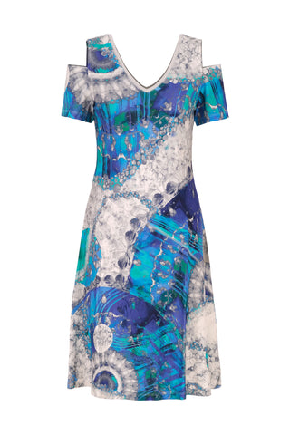 "Dolcezza SS21 ""Sharon"" VNeck Print Dress with Cold Shoulder (Style 21679)"
