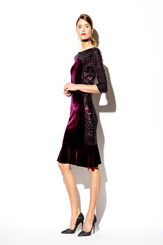 Tia Mulberry Velvet & Sequin Dress with Fluted Hem
