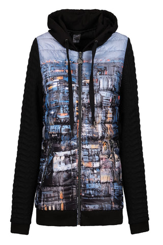 Dolcezza Black & Blue Print Jacket with Hood (Style 70876)