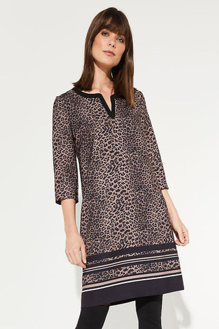 Comma Animal Print Shift Dress with 3/4 Sleeve