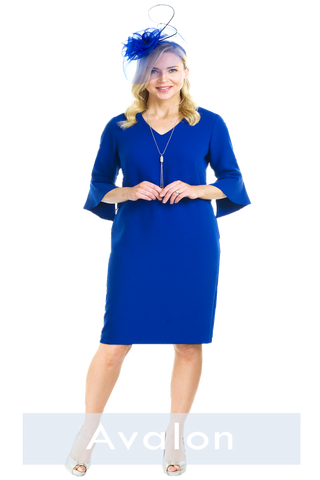 Avalon Royal Blue V-Neck Dress with Bell Sleeve (A6903)