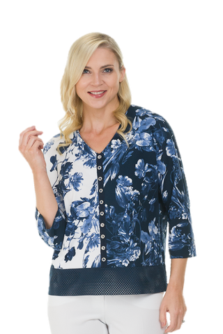 Avalon Chintz Navy & White Top with Lace Trim (Style A6919)