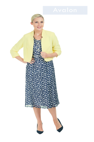 Avalon Midi Length Navy & White Polka Dot Dress with Lemon Balero (Style A6966)