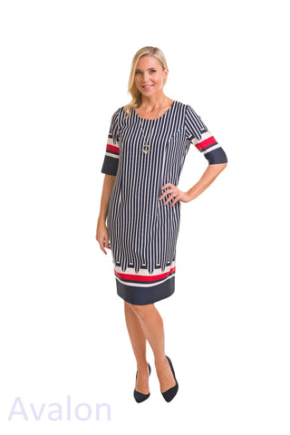 Avalon Navy, White & Red Stripe Dress (A7117)