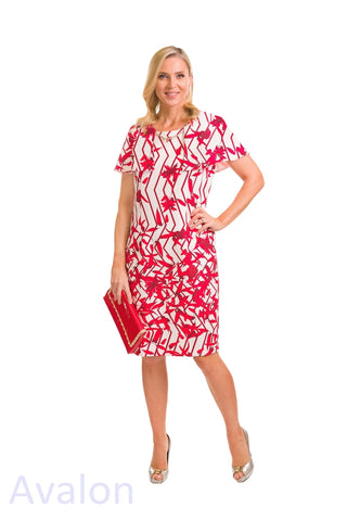 Avalon Red & White Dress with Cape Shoulder (Style A7126)