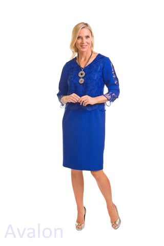 Avalon Royal Blue V-Neck Dress & Lace Cardigan (A7127)