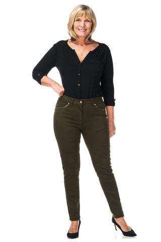 Pinns Khaki Super Stretch Jeans (Style 383T)