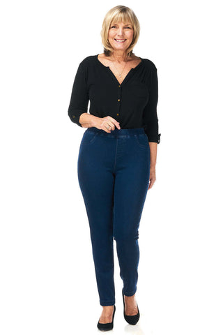 Pinns Mid Blue Stretch 7/8 Ankle Grazer Length Jeans (Style 407T)