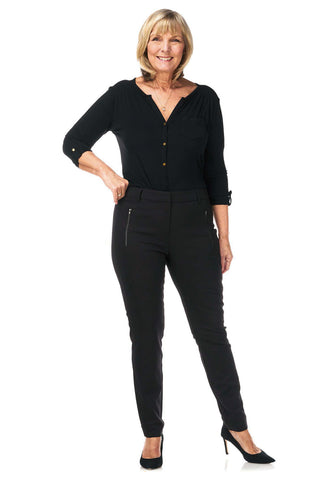 Pinns Black Tailored Trousers with Zip Detail (Style 418T)