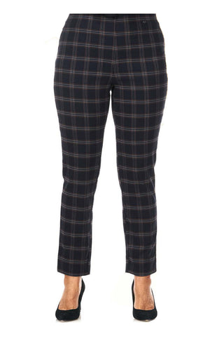 Pinns Navy Check Slim Leg Trousers (Style 302CT)
