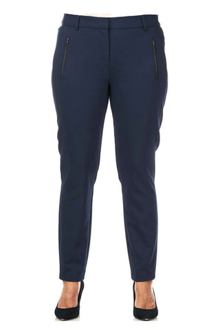 Pinns Navy Tailored Trousers with Zip Detail (Style 418T)