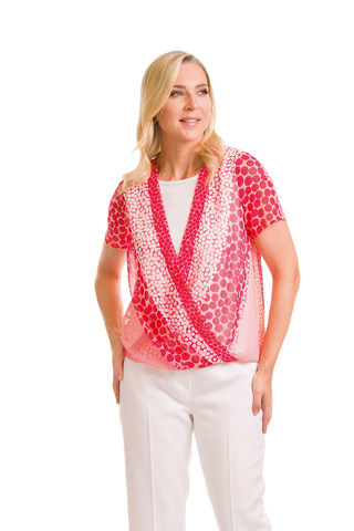 Avalon Mock Wrap Coral & Pink Top (Style A7176)