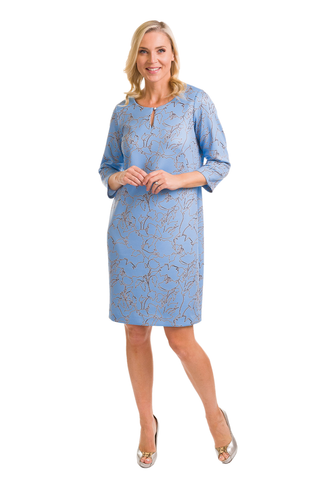 Avalon Sky Blue Shift Dress with Midnight Navy Print (A7167)