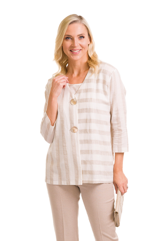Avalon Taupe Linen Stripe Jacket & Cami (Style A7151)