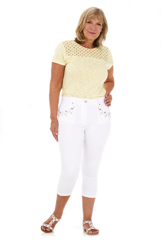 Pinns White Stretch Denim Crop Trousers with Stud pocket detail (Style 417C)