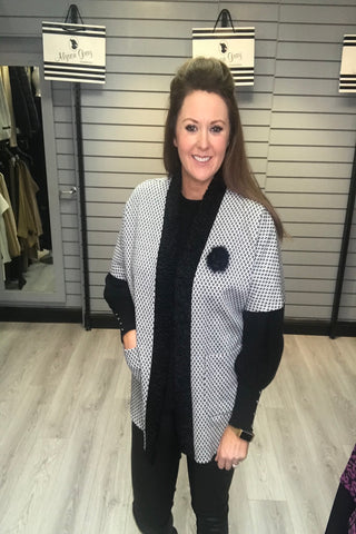 Avalon Black & White Edge to Edge Cardigan (Style A7027)