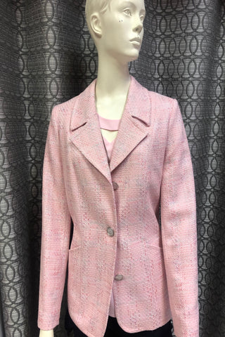 Via Veneto Pink & Silver Tweed Blazer (V7131)