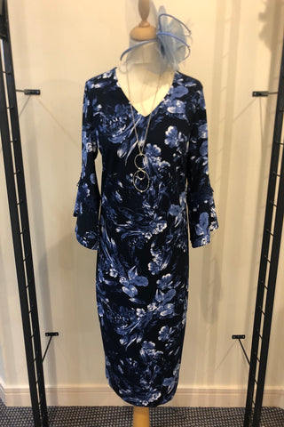 Avalon Navy Floral Print Dress with Bell Sleeve (Style A6920)