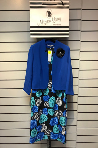 Via Veneto 2 Piece - Royal Blue Rose Print Dress & Balero (Style V3524)