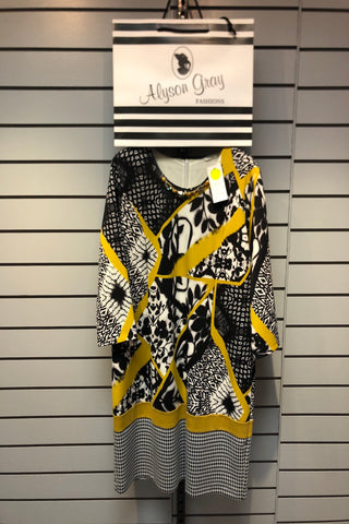 Avalon Mustard Check Print Dress (Style A7028)