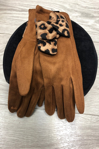 Tan Suedette Gloves with Animal Print Bow
