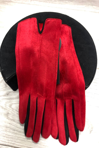 Cherry Red Suedette Gloves with Black Trim