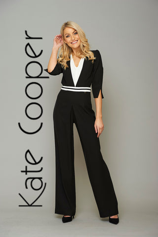 Kate Cooper Jumpsuit - Black & Cream
